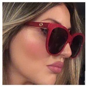 NEW GUCCI GG0081SK Lipstick Red Pearl Logo Sunglasses with Case $480 Authentic